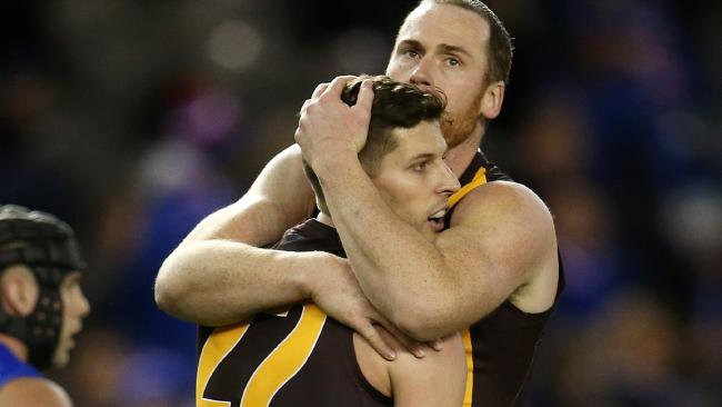 Jarryd Roughead and Breust kicked 10 goals between them. Picture: Michael Klein