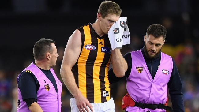 The Hawks suspect Ben McEvoy has a fractured cheekbone. Picture: Getty
