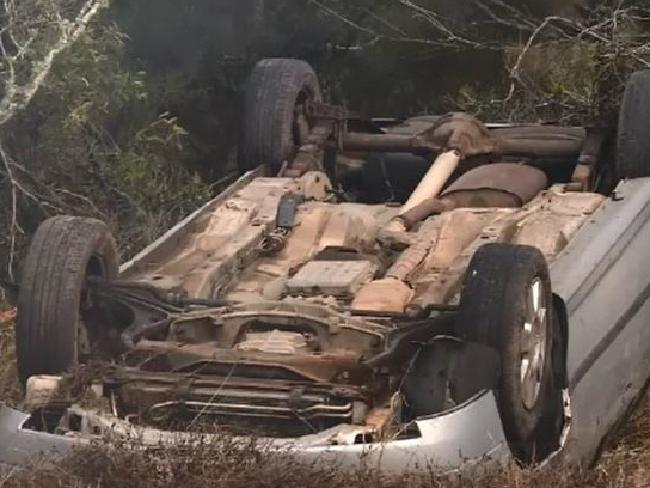 The car rolled onto its roof, killing the boy's parents. Picture: Channel 9