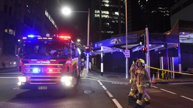 At around 11pm last night emergency workers were called to the vicinity of Martin Place after reports of a gas leak and very large loud hissing noise. Picture: Gordon McComiskie