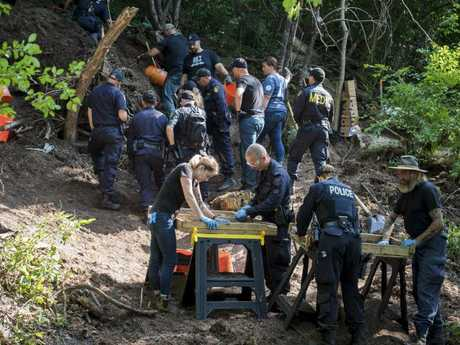 Members of the Toronto Police Service excavate the back of a property in Toronto during an investigation in relation to alleged serial killer Bruce McArthur. Picture: The Canadian Press via AP