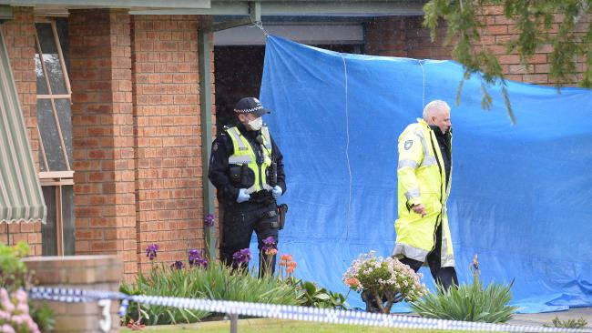 Police are focusing on the garage area of the Cranbourne North property where a woman's body was found in suspicious circumstances after a fire. Picture: Lawrence Pinder