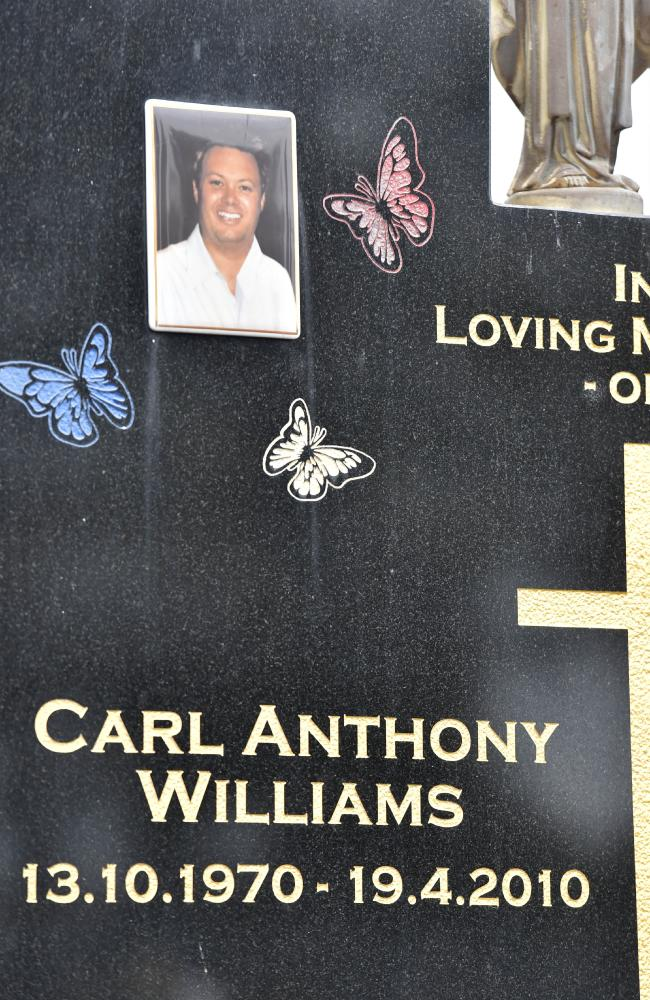 Carl Williams' gravestone. He was murdered in jail when Dhakota was 9 years old. Picture: Jay Town