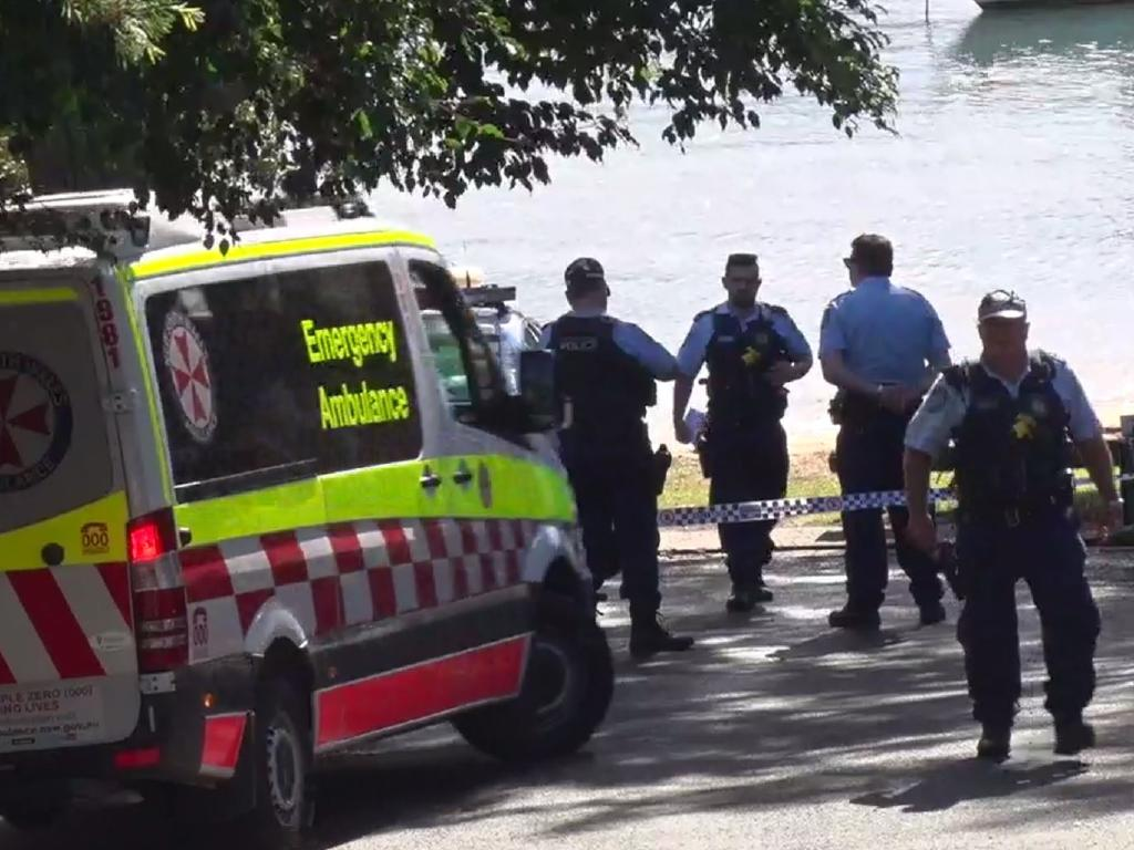 Police at the spot where Ms Haddad's body was located. Picture: Top Notch Video