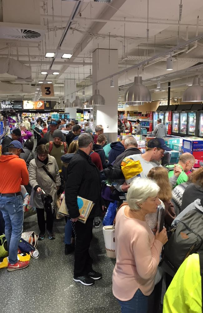 Chaos ensues at Aldi on Saturday morning.