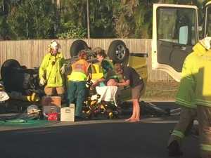 Emergency crews treat patients at Eimeo crash