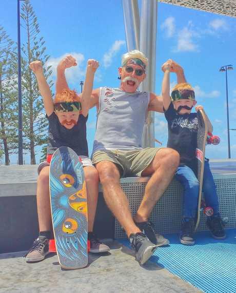 Australian Ninja Warrior contestant Ian 'Pa Rambo' Newland with his grandsons Mannix, 7, left, and Zander, 4, right.