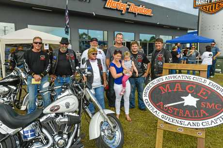 Motorcycle riders from MACE gather at Gladstone Harley Davison to raise money for Bella the Brave.