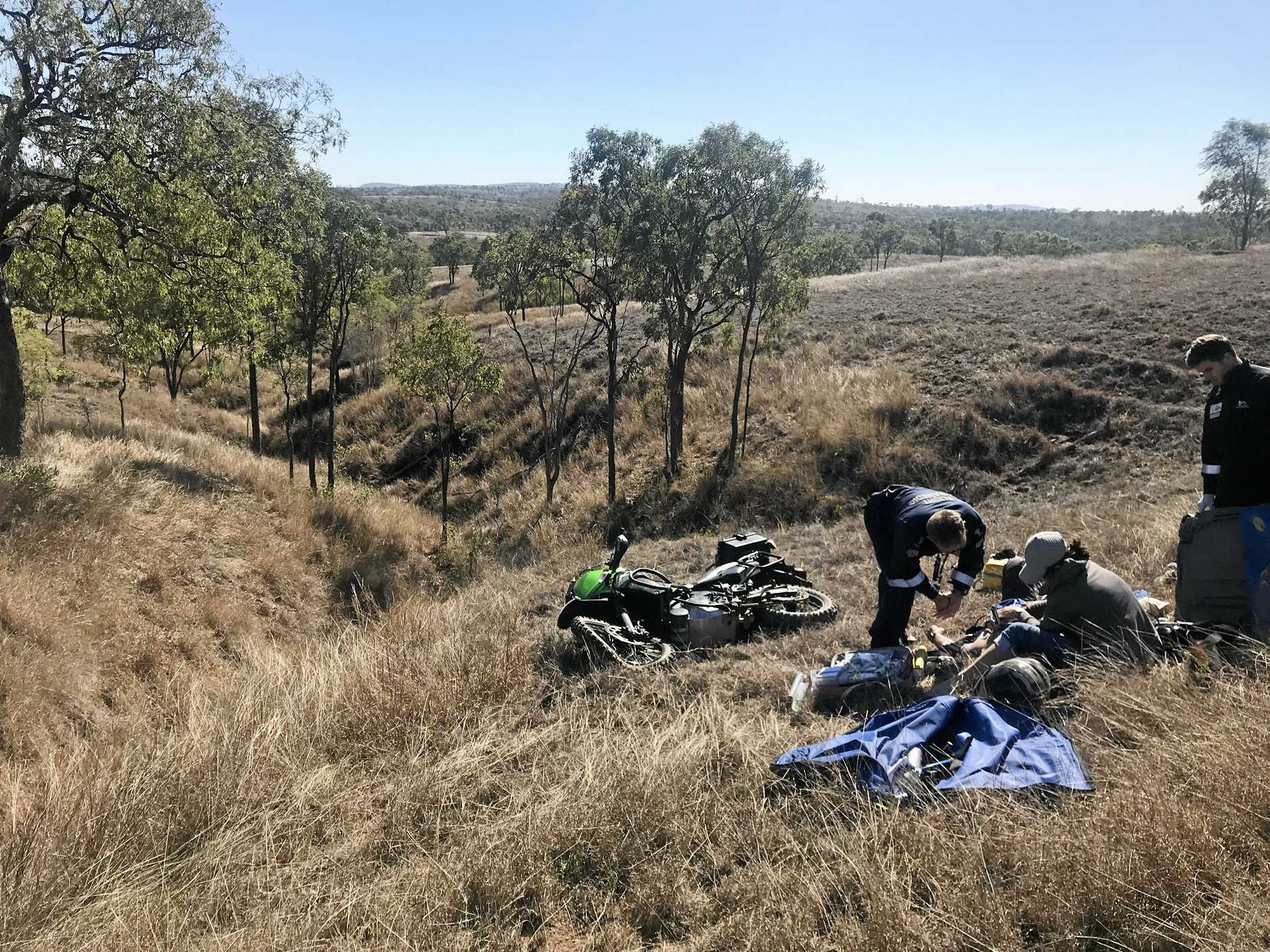 Paramedics treat a seriously injured rider after a motorbike accident   on the Glenroy Marlborough road approximately 30kms south of Marlborough.