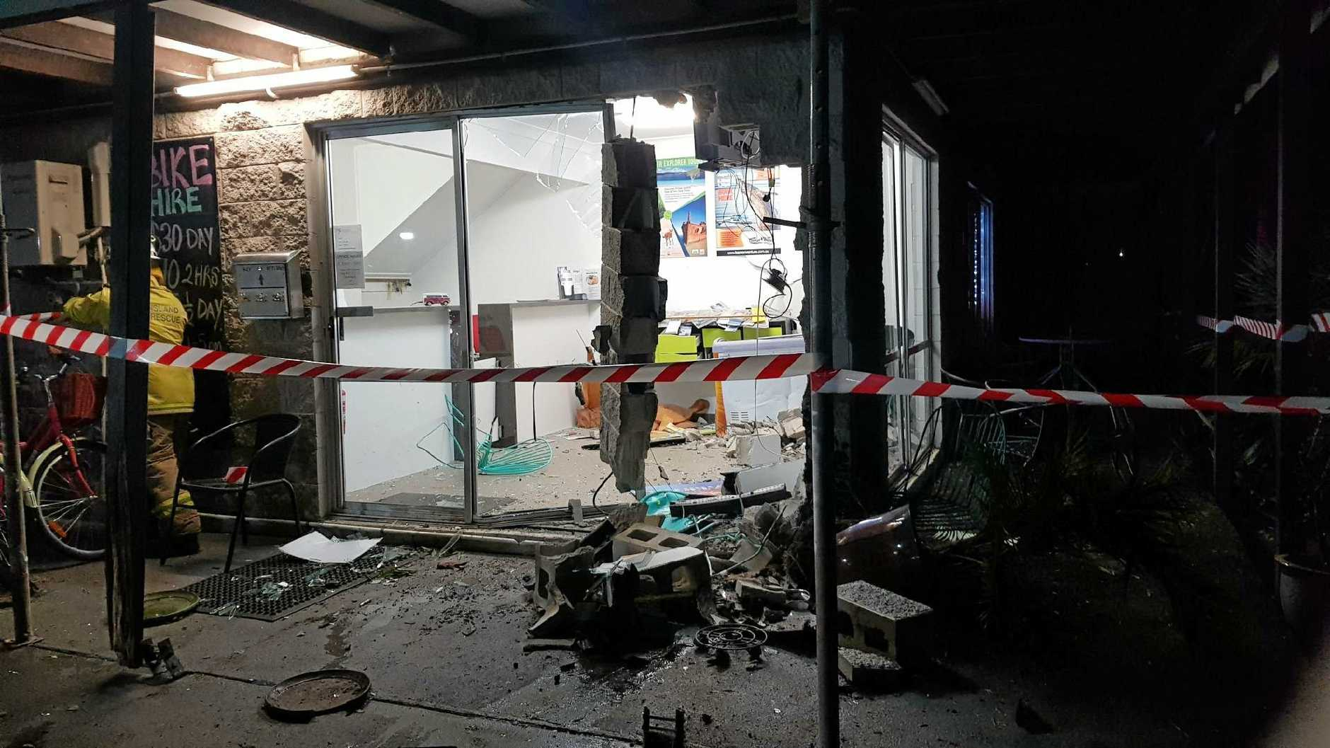 A car, driven by a man in his 70s, ploughed into the office of the Kingfisher Caravan Park at around 3.30am Sunday July 8, 2018.