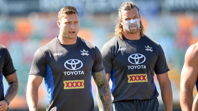Cowboys Tariq Sims, Ashton Sims training session at 1300 Smiles Stadium in Townsville, Queensland. Picture: Wesley Monts