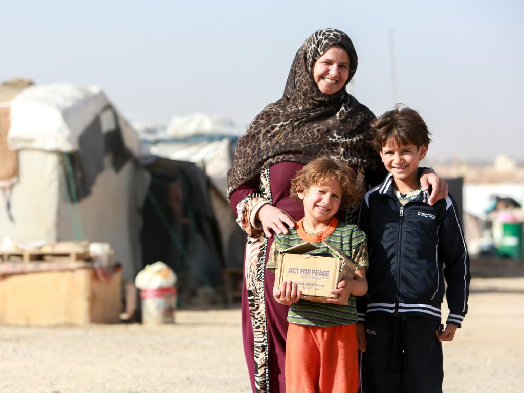 Lilia, 32, lives in a tent with her husband Ahed, and their three sons, aged 10, 7 and 5. They left Syria, fearing for their safety because of constant bombardment. Picture: Act For Peace