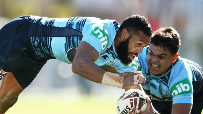 SYDNEY, AUSTRALIA — JULY 05: Josh Addo-Carr dives in front of Latrell Mitchell during a New South Wales Blues State of Origin training session at NSWRL Centre of Excellence Field on July 5, 2018 in Sydney, Australia. (Photo by Matt King/Getty Images)
