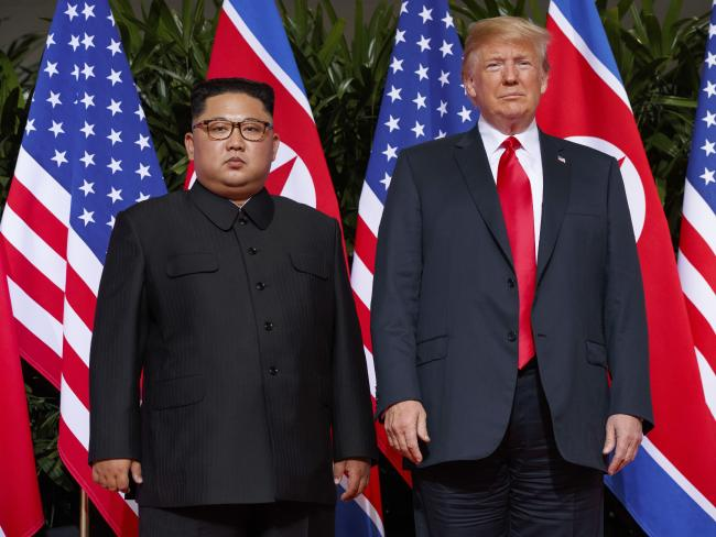 US President Donald Trump and North Korean leader Kim Jong-un during a meeting on Sentosa Island, in Singapore. Picture: AP