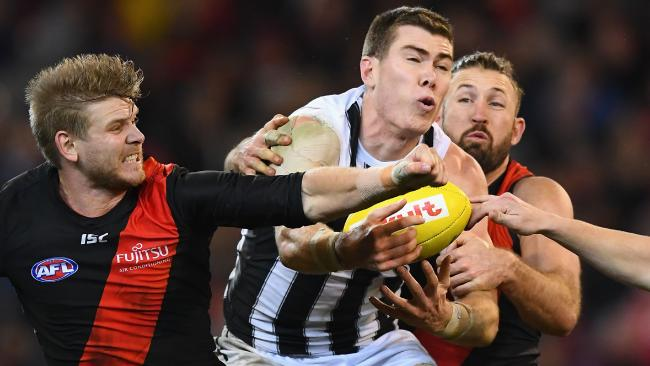 Mason Cox was a tower of power in the air against the Bombers. Picture: Getty Images