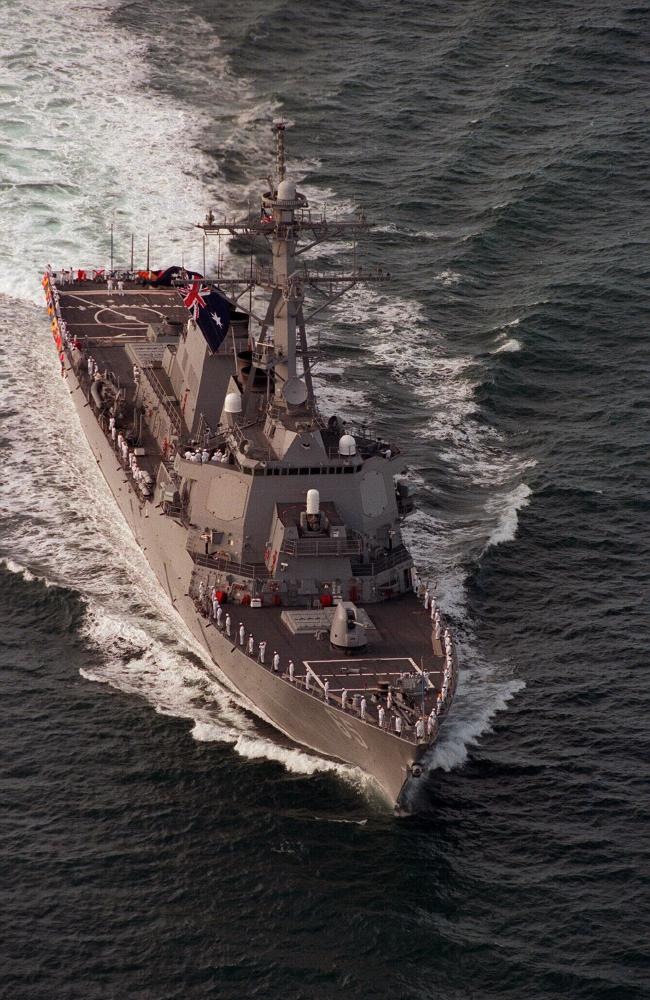 USS Benfold with the Australian flag flying during a friendly visit. Picture: Channel Seven Chopper