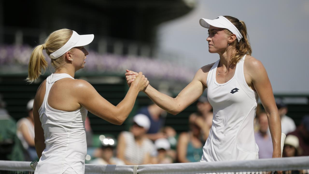 Daria Gavrilova fell to Aliaksandra Sasnovich (right) in Wimbledon's third round after trying to play safe. Picture: AP