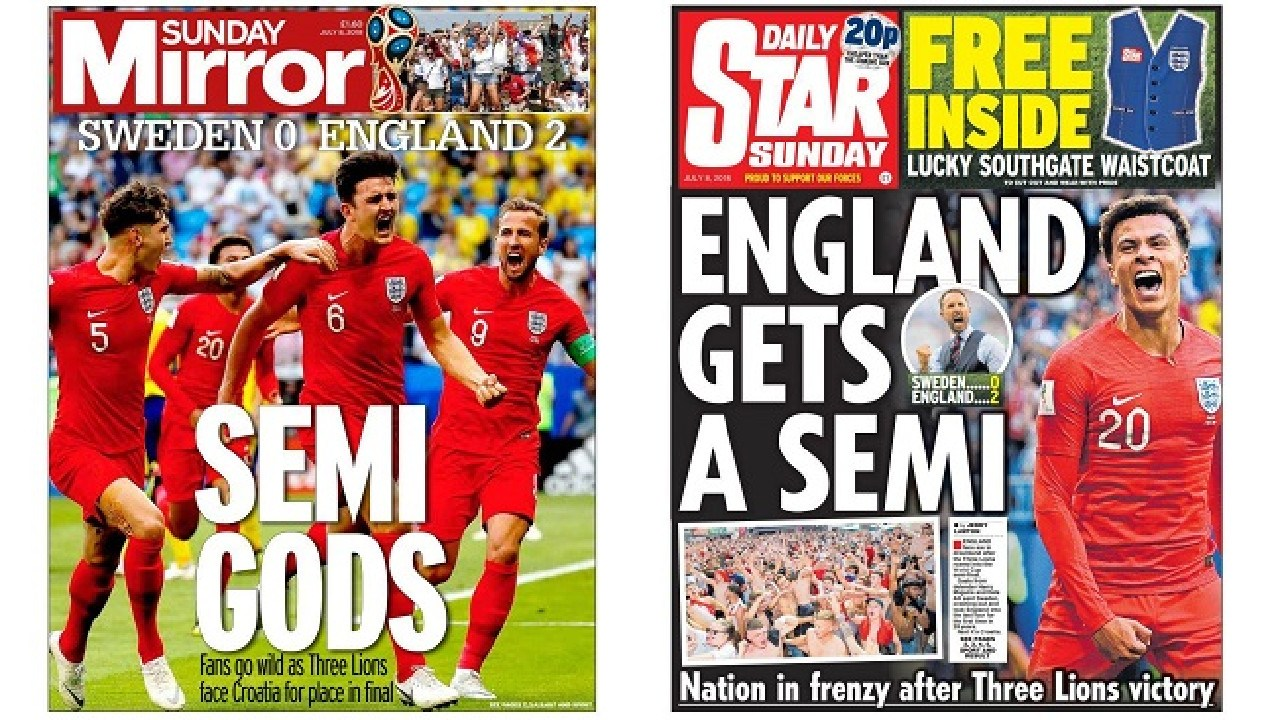 The Sunday Mirror and the Daily Star - unsurprisingly - got a little carried away with England's win.