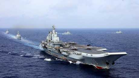 China's aircraft carrier Liaoning caused alarm when her battle group passed through the Taiwan Strait earlier this year. Picture: Chinese State Media