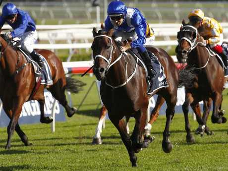 Winx takes out the Queen Elizabeth Stakes at Royal Randwick in April. Picture: AAP