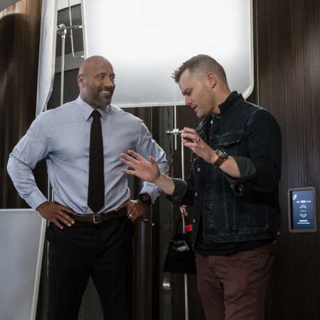 Dwayne Johnson and director Rawson Marshall Thurber on the set of Skyscraper.