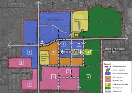 One of three proposed layouts for the Highfields Central Master Plan, which were presented to residents during consultations.