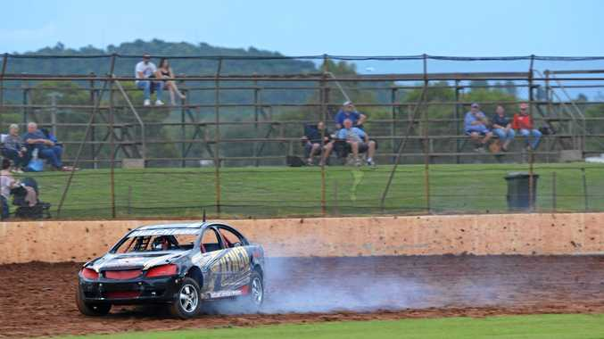 WHEELS IN MOTION: Kingaroy Speedway's champion of champions Travis Hutchison on track.