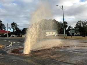 Burst pipe sends water skyward