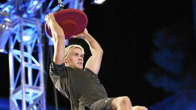 Jett Kenny on Australian Ninja Warrior's tricky UFO Slider obstacle.