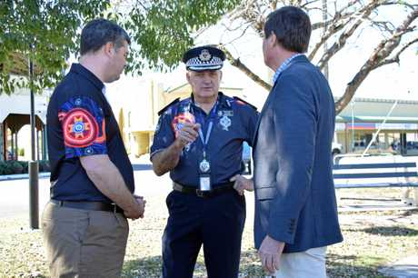 Police Minister Mark Ryan, Assistant Commissioner Mike Condon and Natural Resources Minister Anthony Lynham addressed community safety concerns at a press conference in Murgon on July 9.