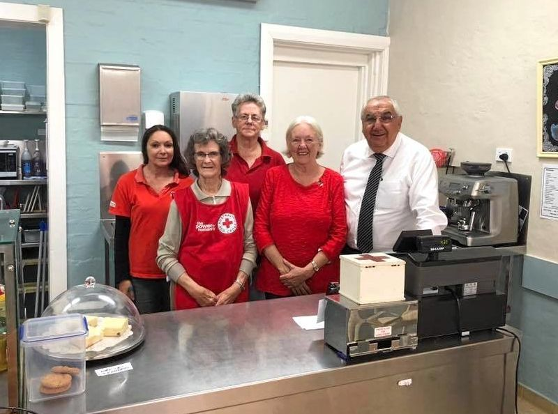 CAN YOU HELP: Lismore MP Thomas George stopped into the Lismore Red Cross Tea Rooms to show his support. He is pictured with volunteers (L-R) Honey Kindred, Mary Lemon, Norma Blume and Gloria Francis.