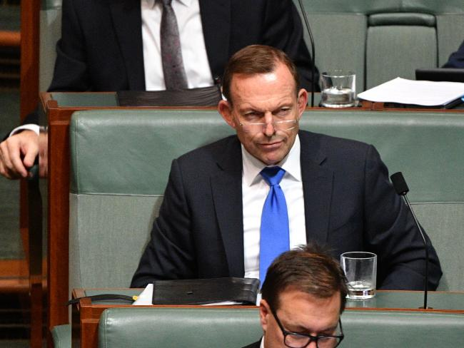 "Former prime minister Tony Abbott has slammed a colleague ""leaking"" against him over his call for Australia to leave the Paris Agreement. Picture: AAP"