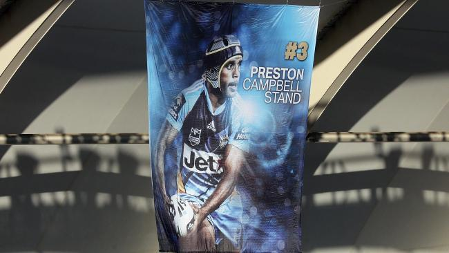 Titans have named one of the stands at Cbus Super Stadium after club legend Preston Campbell. Photo the banner that unfurled. Photo by Richard Gosling