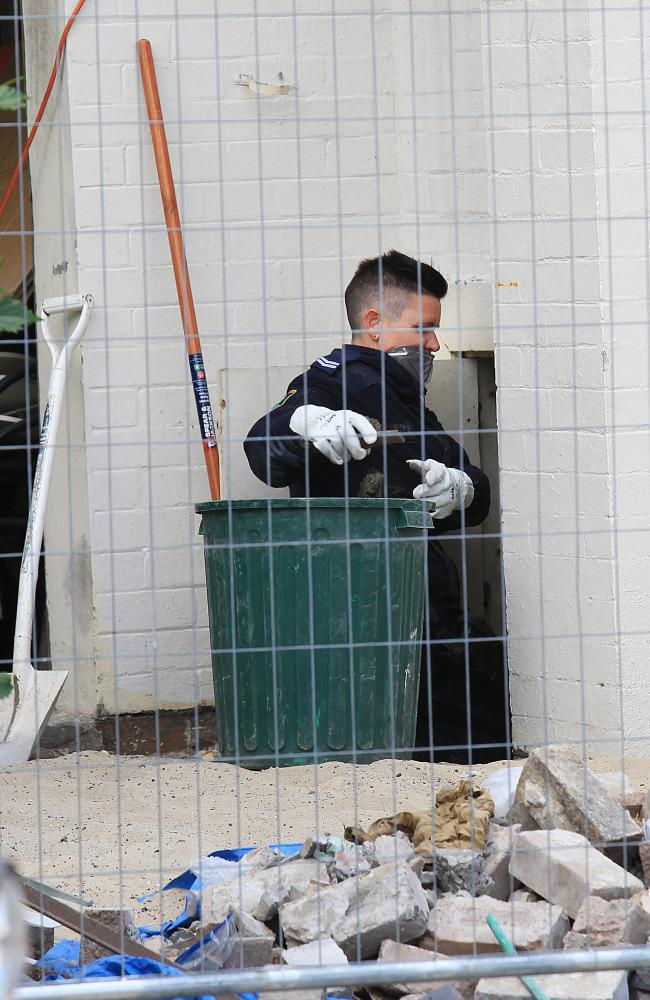 Construction has been stopped as police search the site for clues. Picture: Danny Aarons