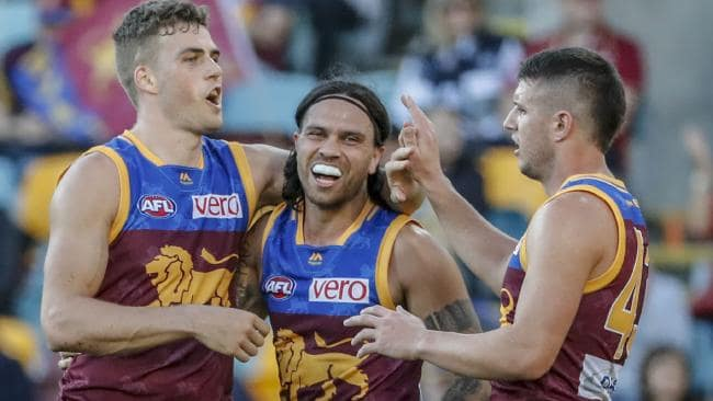 The Brisbane Lions celebrate their win on Saturday. Picture: AAP Images