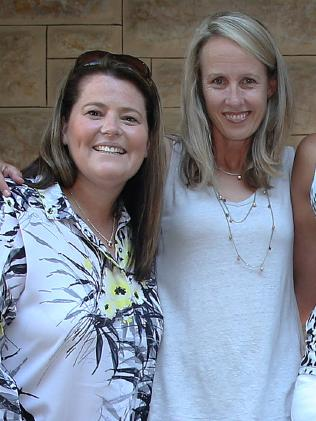 Tania Obst with Jane Woodlands-Thompson at an Australian netball reunion in 2016. Picture Dean Martin