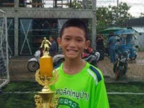 Monhkhol Boonpiam, 13, is one of 12 footballers saved from inside a flooded cave in the Tham Luang Forest Park. Picture: Supplied
