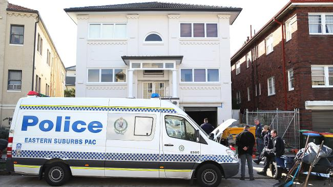 Police searching the Ramsgate Ave apartment in North Bondi yesterday. Picture: Danny Aarons