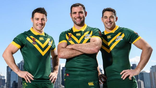 Cooper Cronk, Cameron Smith and Billy Slater on the eve of the World Cup last year. Picture: NRL Photos