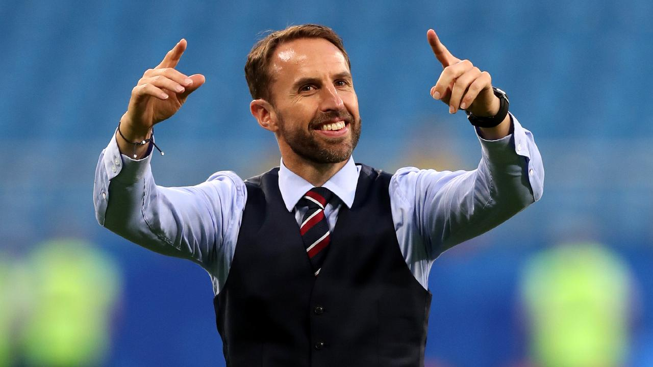 Gareth Southgate has reached hero status as England goes deeper into the World Cup than anyone thought they would. Picture: Getty