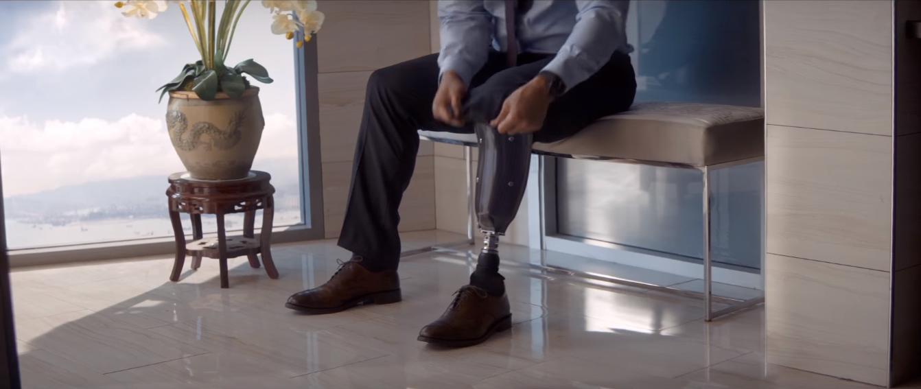 Dwayne Johnson in a scene from the movie Skyscraper.