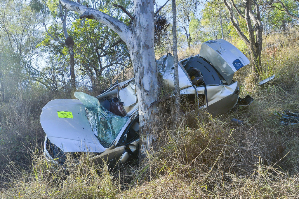 A car finished at the bottom of an embankment on Boles Street, West Gladstone after a traffic incident overnight.