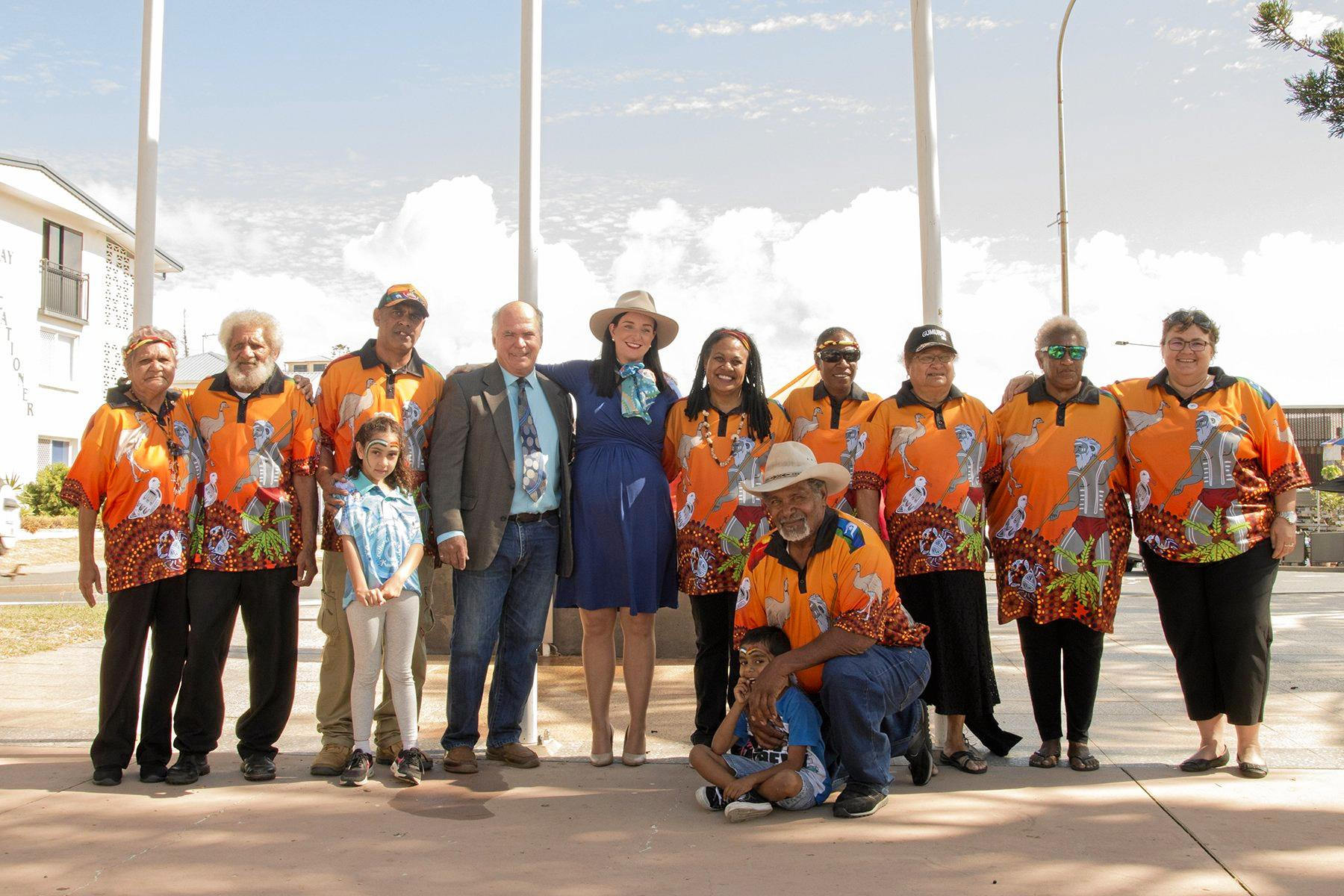ARM IN ARM: Mayor Bill Ludwig and Member for Keppel Brittany Lauga join in last year's NAIDOC Week celebrations in Livingstone with members of the Capricorn Coast Indigenous Inc. Mob.