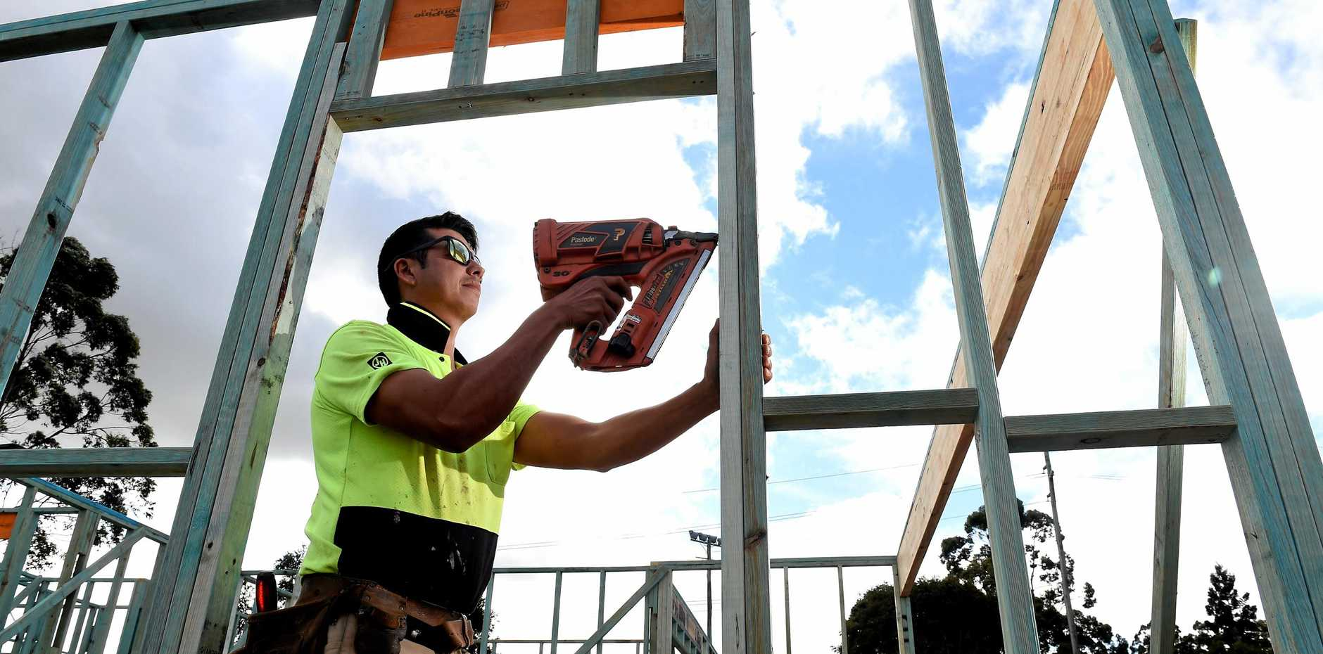 Sole trader Cliff Hayward at work in the Lismore region which has seen significant housing expansion. Photo Marc Stapelberg / The Northern Star