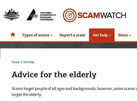 Screenshot of Scamwatch website