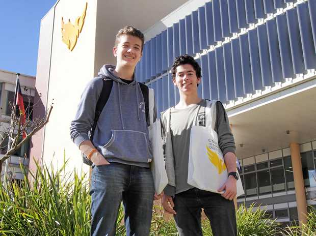 Former Springfield Anglican College students Mitchell Watson and Callum Burdett are starting university together.