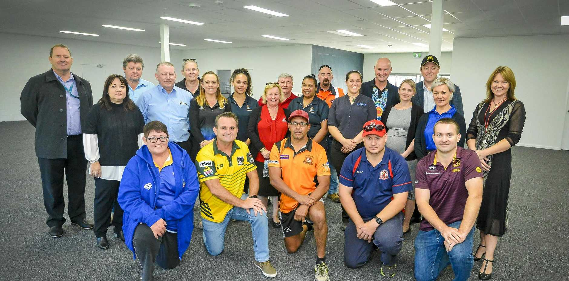 ACTION-PACKED: Sponsors of the Legends of League event to be held in Gladstone gather for the launch at Marley Brown Oval.