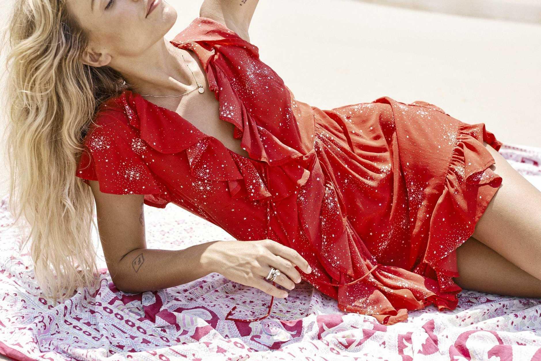 Celestial Grace Frill Mini Dress Red $220.