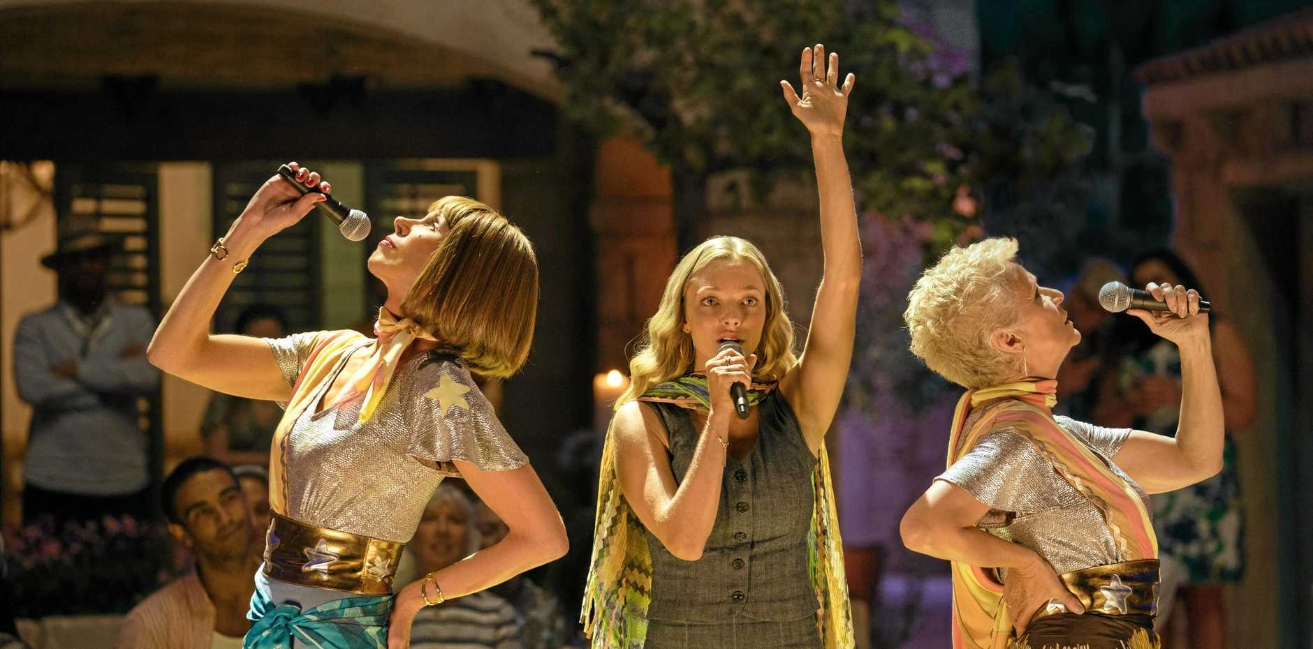 Christine Baranski, Amanda Seyfried and Julie Walters in a scene from Mamma Mia! Here We Go Again. Supplied by Universal Pictures.