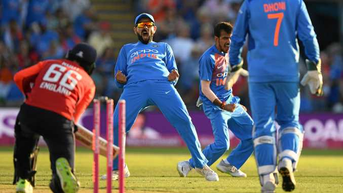 India captain Virat Kohli celebrates after England's Joe Root is bowled during the T20 International in Cardiff, Wales last Friday. Picture: Stu Forster/Getty